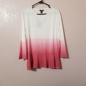 American Living Women Pink White Top Blouse Size L